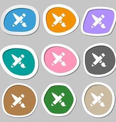 Brush icon symbols multicolored paper stickers vector