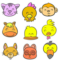 cute animal head style of doodles vector image vector image