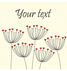 Cute unique floral card with dandelions and hearts vector image