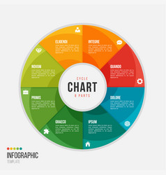 Cycle chart infographic template with 8 parts vector