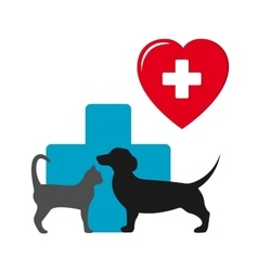 Dog and cat veterinary icon vector