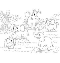 Family of african elephants coloring book for vector