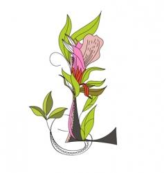 floral font 2 letter l vector image