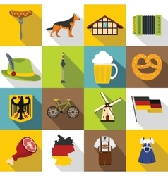 Germany icons set flat style vector