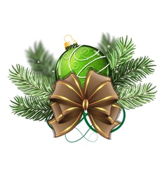 Green Christmas ball with bow vector image