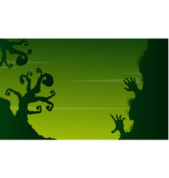 Halloween scary landscape on green background vector