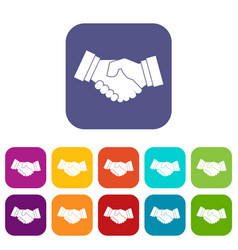 handshake icons set vector image vector image