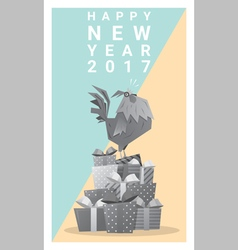 Happy new year 2017 card with rooster 10 vector