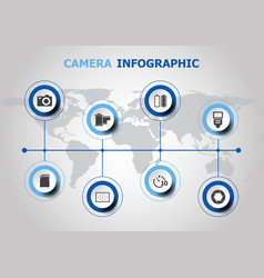 Infographic design with camera icons vector