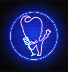 karaoke neon sign vector image