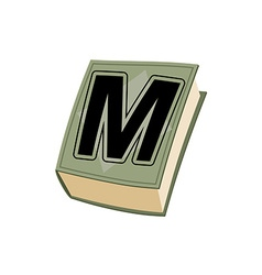Letter M on cover of retro books Concept of vector image vector image