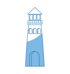 Lighthouse cartoon structure on shore vector