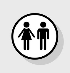 Male and female sign flat black icon in vector