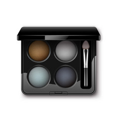 Multicolored eye shadows with makeup brush vector