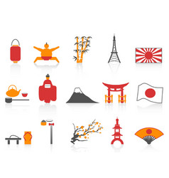 Orange red color series japanese icons set vector