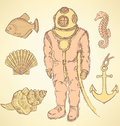 Sketch vintage diving suit and sea creatures vector
