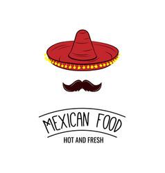 sombrero and mustache mexican food badge vector image vector image
