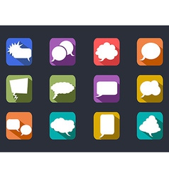 speech bubbles long shadow flat icons vector image vector image