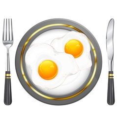 tableware breakfast egge vector image vector image