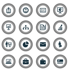 Trade icons set collection of envelope work man vector