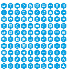 100 communication icons set blue vector image vector image