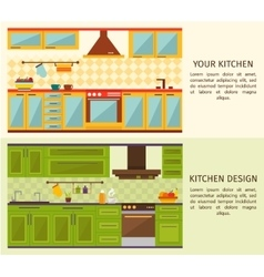 Kitchen interiors horizontal banners vector