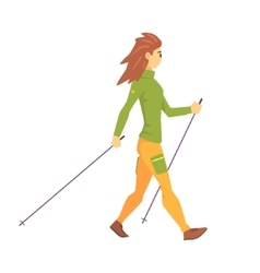 Woman in green top with cap doing nordic walk vector