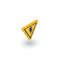 Sign of danger high voltage isometric flat icon vector