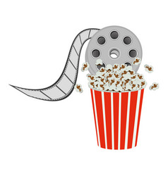 Color pop corn with film production icon vector