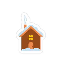 paper sticker on white background house snow vector image