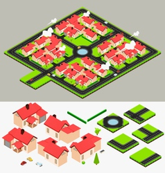 Isometric cluster house collection set vector
