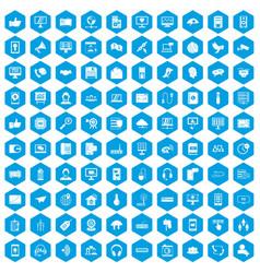 100 communication icons set blue vector image