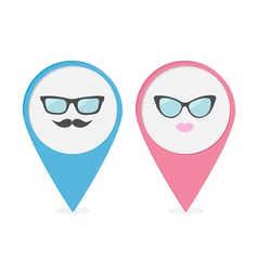 Map pointer with lips mustaches and glasses vector image