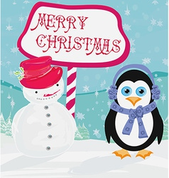 Christmas card with a penguin and snowman vector