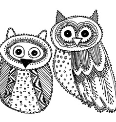 Decorative hand drawn cute owl sketch doodle black vector