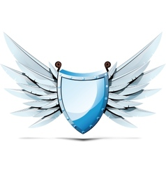 Shield with wings of swords vector