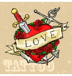 Heart tattoo design vector