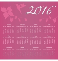 2016 calendar with hummingbird and flower with vector
