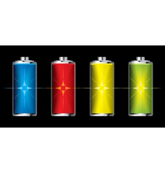 Batteries with flash charge icon vector
