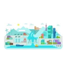 Flat style landscape city terrain river bridge vector