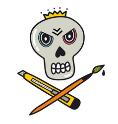 angry skull with knife and brush vector image vector image