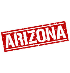 Arizona red square stamp vector