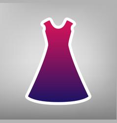 Beautiful long dress sign purple gradient vector
