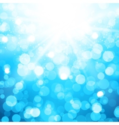 Blurred blue background with sun rays and bokeh vector