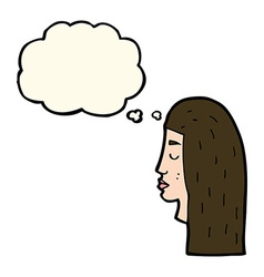 cartoon female face profile with thought bubble vector image