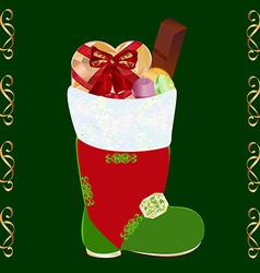 Christmas boots with gifts vector image vector image