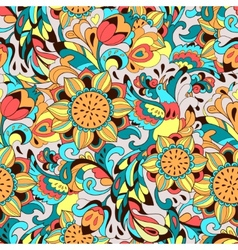 Colorful pattern with bird Phoenix and sunflower vector image