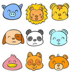 Funny style animal head of doodles vector