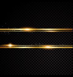 Golden line banner isolated on black vector