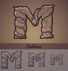 Halloween decorative alphabet - M letter vector image